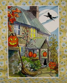 Evening Fly About Storybook Cottage Halloween Halloween Eve, Whimsical Halloween, Halloween Cartoons, Halloween Quilts, Halloween Painting, Halloween Drawings, Halloween Pictures, Vintage Halloween, Vintage Fall