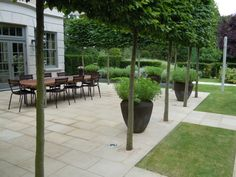 richard miers garden design | hornbeam trees  and earth-colored pots define the sandstone paved dining area