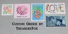 Reserved Custom Order for aerdly1 .. Unused Vintage US Postage Stamps by TreasureFox on Etsy
