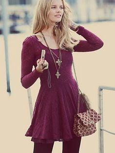 I'd kill for this in Boysenberry (shown) and Pearl Grey!  Free People Floral Lace Fit and Flare Dress, $128.00.