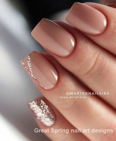 Looking for the best nude nail designs? Here is my list of best nude nails for y. Looking for the best nude nail designs? Here is my list of best nude nails for your inspiration. Check out these perfect nude acrylic nails! Natural Nail Designs, Elegant Nail Designs, Nail Designs Spring, French Nail Designs, Nail Design Glitter, Glitter Nails, Matte Nails, Glitter Art, Nude Nails With Glitter