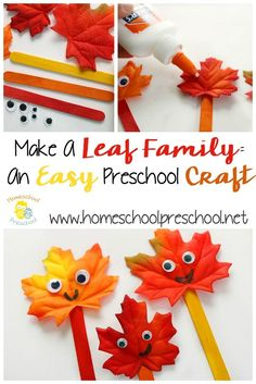 "Thanksgiving Preschool Printable Learning Activities - This ""Leaf Family"" craft is an easy preschool craft that will have your kids excited about the - Easy Preschool Crafts, Daycare Crafts, Toddler Crafts, Preschool Fall Theme, Preschool Seasons, Preschool Family, Leaf Crafts, Crafts To Do, Fun Arts And Crafts"