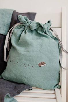 Linen Pouch Peppermint Green Linen Bag Hand Stitched gift bag Large Linen Pouch Bag in Mint Green and Light Grey with optional Hand Embroidery Embroidery Bags, Hand Embroidery Stitches, Hand Embroidery Designs, Hand Stitching, Embroidery Digitizing, Embroidery Materials, Embroidery Tattoo, Gift Bag Storage, Baby Shower Gifts