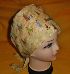 65979309bef Christmas Silent Night Ladies Nurses Surgical Scrubs Hats Pixie Scrub Caps