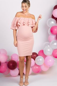 The perfect maternity dress for Valentine's Day! Light Pink Layered Ruffle Off Shoulder Fitted Maternity Dress, maternity clothes, pregnancy outfit, pink maternity dress, Off Shoulder Maternity Dress, Plus Size Maternity Dresses, Maternity Fashion Dresses, Fitted Maternity Dress, Maternity Dresses For Baby Shower, Summer Maternity Fashion, Cute Maternity Outfits, Maternity Gowns, Stylish Maternity