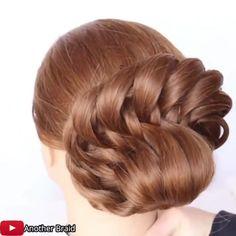 Bun Hairstyles For Long Hair, Elegant Hairstyles, Braided Hairstyles, Braided Updo, School Hairstyles, Front Hair Styles, Medium Hair Styles, Updo Tutorial, Hair Videos
