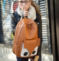 Amazon.com: Qiyun Boy's Girl's Kid's Cute Fox Faux Leather Campus Book Backpack Shoulder Bag Brown: Clothing