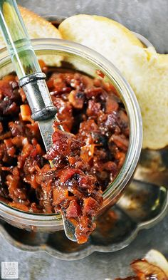 Bacon Jam is an easy recipe to make and great to have on hand. It is an amazing flavor enhancer for toast sandwiches burgers and even in scrambled eggs. We love to top everything with this sweet savory and smoky spread! Bacon Recipes, Jam Recipes, Cooking Recipes, Canned Bacon Jam Recipe, Easy Jam Recipe, Jelly Recipes, Milk Recipes, Cooking Tips, Recipies
