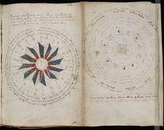 Immagini astrologiche tratte dal manoscritto Voynich, di cui esiste una sola copia, attualmente conservata presso la Beinecke Rare Book and Manuscript Library dell'Università di Yale, negli Stati Uniti.