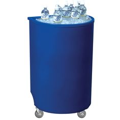 Blue Iceberg 500 Insulated Portable Beverage Cooler / Merchandiser with Lid and Drain and Semicircular Design 60 Qt. $122.00