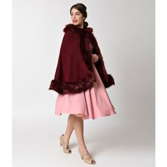 Vintage Style Burgundy Red & Fur Hooded Cape ($62) ❤ liked on Polyvore featuring outerwear, multicolor, burgundy cape, hooded cape, cape coat and hooded cape coat