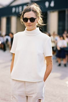 Before Alexander Wang, NYC, September 2014.    Button-Up.     Recreate her beautiful look (kind of):     Miu Miu Crepe top , Pro...