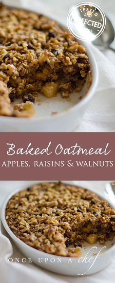 Amish-Style Baked Oatmeal with Apples, Raisins & Walnuts (Vegan Casserole Brunch) Baked Apple Oatmeal, Baked Oatmeal Recipes, Oatmeal Raisins, Amish Baked Oatmeal, Healthy Baked Oatmeal, Raisin Recipes, Vegan Oatmeal, Baked Apples Healthy, Oatmeal Yogurt