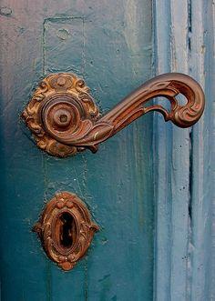 Bronze Door Handle and Key Hole