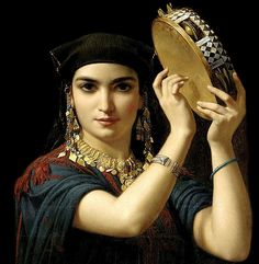 Emile Charles Hippolyte Lecomte-Vernet (French artist, Egyptian Beauty with Tambourine Dance Oriental, Portrait Photos, Gypsy Women, Gypsy Girls, Tambourine, European Paintings, French Artists, Beautiful Paintings, Belly Dance