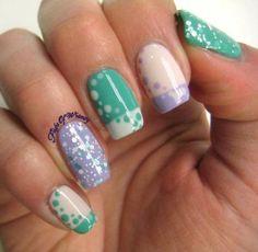 Spring Bubbles  Nails Nailart Whitenails greennails polkadots - See more nail look at Bellashoot.com