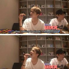 Ken #vixx Hong Bin: The pizza he loved just died! Cry! Cry!  Ken: What do I do? Seriously, what do I do?