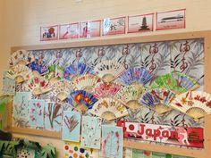 A super Japanese Fans classroom display photo contribution. Great ideas for your classroom! School Displays, Classroom Displays, Classroom Themes, Japanese Language School, Japanese School, Japan For Kids, Art For Kids, Sakura Festival Japan, Kensukes Kingdom