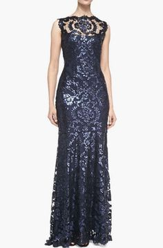 Lovely Clusters Shop   lovelyclustersshop.com: Tadashi Shoji Sleeveless Sequined Lace-Overlay Gown