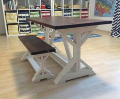 Kid sized Fancy X Farmhouse table and bench for our playroom. Furniture Projects, Furniture Making, Diy Furniture, Wood Projects, Kids Play Table, Kid Table, Diy Farmhouse Table, Farmhouse Furniture, Dining Room Office