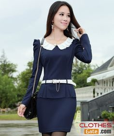 Korean spring flounced autumn bottoming Slim stylish long-sleeved dress with belt   see more at :http://www.clothesgate.com/korean-spring-flounced-autumn-bottoming-slim-stylish-long-sleeved-dress