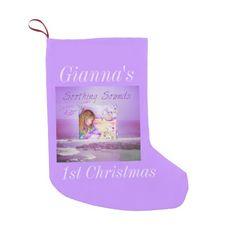 Carousel Dreams Purple Ocean Small Xmas Stocking by #MoonDreamsMusic #ChristmasStocking #BabysFirstChristmas #PurpleOcean