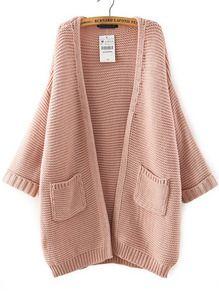 Pink Batwing Sleeve Pockets Knit Cardigan