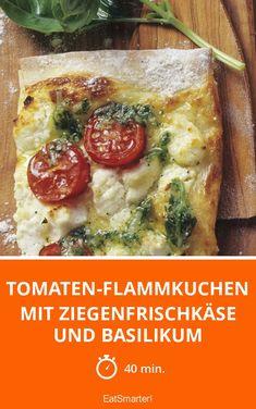 Tomaten-Flammkuchen mit Ziegenfrischkäse und Basilikum - smarter - Zeit: 40 Min. | eatsmarter.de