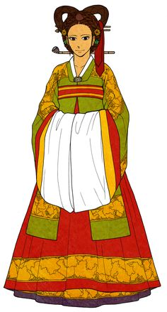 Wonsam by Glimja on deviantARTThis is a formal hanbok for women. 'Wonsam' means a round-shaped dress (圓衫). Look at its neck. (different from other hanboks) And another accent is very wide, large and white end of sleeves.  Its colors and patterns depend on the woman's status and class. But usually we think yellow-green wonsam and two layers of chima (red and blue).  This dress were also used for brides, and Korean brides still wear this dress (of course, white wedding dress too ^_^)
