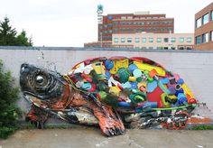 """1,331 curtidas, 10 comentários - Arte Sem Fronteiras (@artesemfronteiras) no Instagram: """"Artwork (sculpture/recycling/mural) by Bordalo for Festival Inspire in Canada Facebook : Bordalo II…"""""""