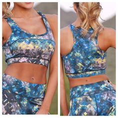 NEW ARRIVAL  Racer back sports bra Perfect for whatever goals you have planned. Geometric print racerback sports bra with seam detailing and comfortable elastic band.   88% Polyester, 12% Spandex.  Model is a Size 2, 32D, and is shown wearing a Small.  Available in size S(2-4) M(6-8) L(10-12).   Get The Whole Look: Athletic Pants also available in my closet. TK875202 2 a T Boutique  Other