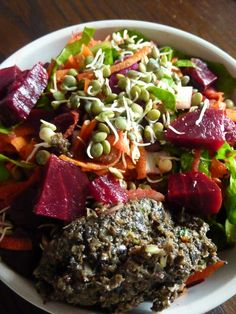 Black Olive Tapenade with Beetroot and Red Onion Salad