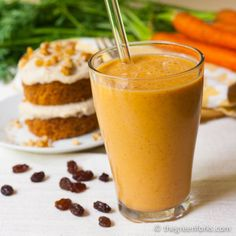 Carrot Cake Smoothie - 3 tablespoons raisins,  1 cup non-dairy milk, 1 cup peeled, chopped carrot,   1 banana, preferably frozen,   ½ teaspoon vanilla extract,   ½ teaspoon ground cinnamon,   1 cup spinach