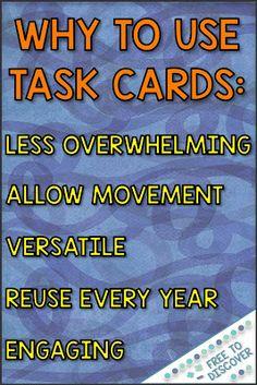 Ideas for Teaching with Math Task Cards High School Classroom, Math Classroom, Classroom Ideas, Math Math, Math Fractions, Math Games, Classroom Organization, Maths, 7th Grade Math