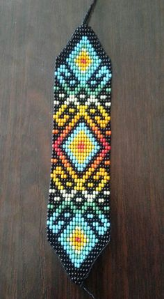 Beaded bracelet Loom Bracelet Patterns, Peyote Stitch Patterns, Seed Bead Patterns, Bead Loom Bracelets, Jewelry Patterns, Beading Patterns, Bead Embroidery Jewelry, Beaded Embroidery, Native American Beadwork