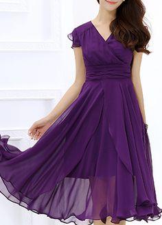 Cap Sleeve High Waist V Neck Dress on sale only US$27.32 now, buy cheap Cap Sleeve High Waist V Neck Dress at lulugal.com