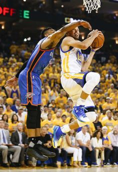 Golden State Warriors' Stephen Curry tries to get past Oklahoma City Thunders' Russell Westbrook in the first quarter during Game 7 of the NBA Western Conference Finals at Oracle Arena on Monday, May 30, 2016 in Oakland, Calif. Photo: Scott Strazzante, The Chronicle