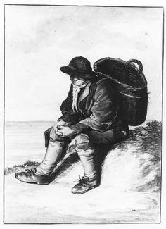 Negentiende-eeuwse Scheveningse dracht. Een visser zit met een lege mand op zijn rug op een duin. Hij draagt een slappe hoed, stropje, hemdrok, korsjak, kniebroek met kousen en gestrikte schoenen. 1850 aquarel #ZuidHolland #Scheveningen