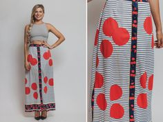 60s skirt Vintage 60s MOD designer maxi long by Raxclothing