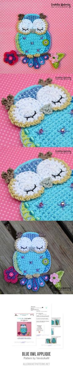 Blue Owl Applique Crochet Pattern for purchase Owl Crochet Patterns, Crochet Owls, Crochet Cushions, Crochet Chart, Cute Crochet, Crochet Motif, Knit Crochet, Crochet Appliques, Owl Applique