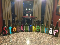 Stock the Bar Wine Bottle Decor : Stock the Bar Wine Bottle Decor Party Planning, Wedding Planning, Grill Party, Couple Shower, Housewarming Party, Wine Bottle Crafts, House Warming, Bridal Shower, Bridal Parties