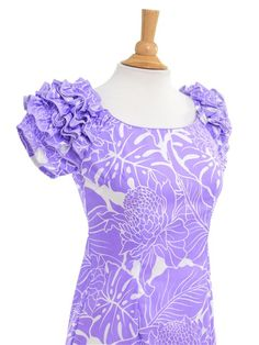 [Exclusive] Naomi Long Slit Dress [Protea&Monstera/Lavender] - Hula Costumes - Hula Supply | AlohaOutlet SelectShop
