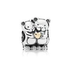 PANDORA | Teddy bears silver charm with 14k heart