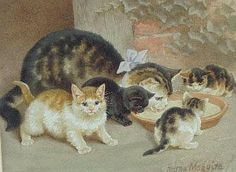 HELENA MAGUIRE, 1860-1909 A mother cat and four kittens lapping cream from a terracotta bowl Watercolour, signed, 22.5 x 29cm