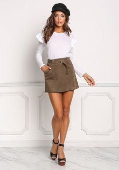 Olive Suedette Cinched Pocket Skirt - New Skirts With Pockets, Mini Skirts, Cozy Fashion, Fashion Beauty, Love Culture, Junior Outfits, Bodice, Short Dresses, Legs