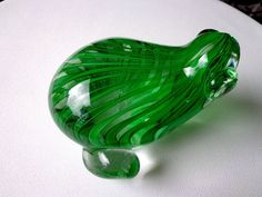 """Art Glass Green Ribbon Crystal Frog Paperweight 5"""""""
