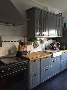 Our new ikea kitchen bodbyn brey with the smeg oven