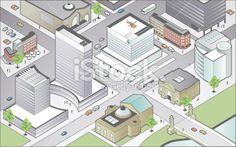 Isometric City Center Royalty Free Stock Vector Art Illustration