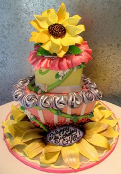 Whimsical Hearts and Sunflowers Cake