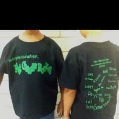 Class shirts - names of students written on back with school name and year